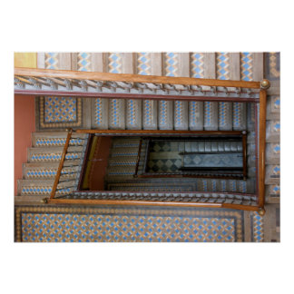 Barcelona, Spain - Patterned Tile Stairway Poster