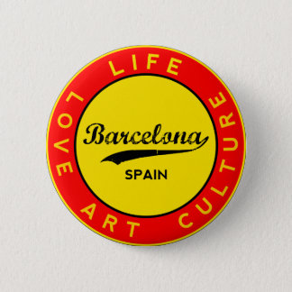 Barcelona, Spain, red circle, art 2 Inch Round Button