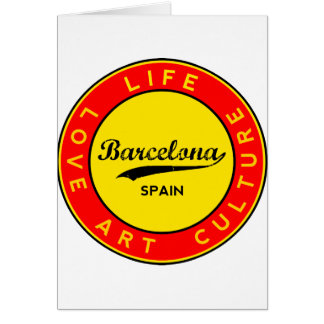 Barcelona, Spain, red circle, art Card