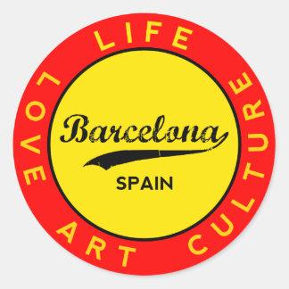 Barcelona, Spain, red circle, art Classic Round Sticker
