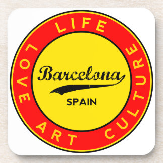 Barcelona, Spain, red circle, art Coaster