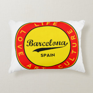 Barcelona, Spain, red circle, art Decorative Pillow