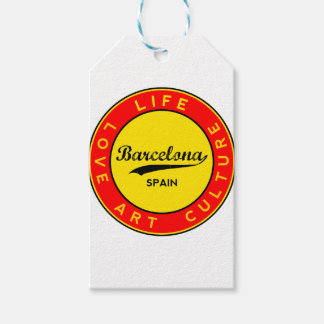 Barcelona, Spain, red circle, art Gift Tags