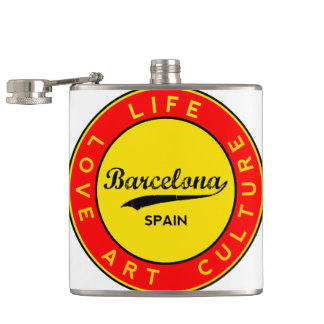 Barcelona, Spain, red circle, art Hip Flask
