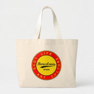 Barcelona, Spain, red circle, art Large Tote Bag