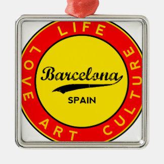 Barcelona, Spain, red circle, art Metal Ornament