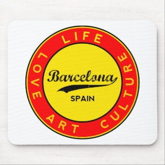 Barcelona, Spain, red circle, art Mouse Pad