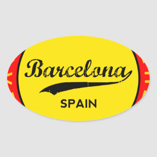 Barcelona, Spain, red circle, art Oval Sticker