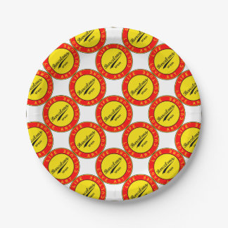 Barcelona, Spain, red circle, art Paper Plate