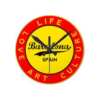 Barcelona, Spain, red circle, art Round Clock