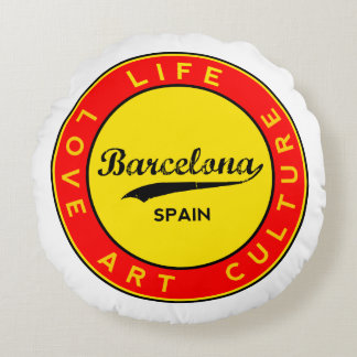 Barcelona, Spain, red circle, art Round Pillow