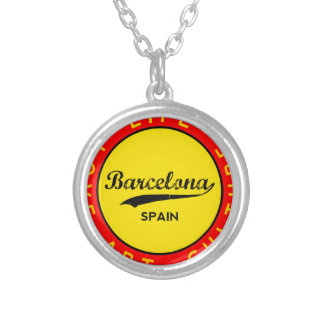 Barcelona, Spain, red circle, art Silver Plated Necklace