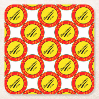 Barcelona, Spain, red circle, art Square Paper Coaster