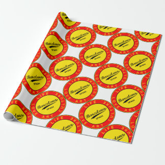 Barcelona, Spain, red circle, art Wrapping Paper