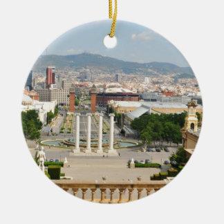 Barcelona, Spain Round Ceramic Ornament