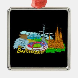 Barcelona - Spain Silver-Colored Square Ornament