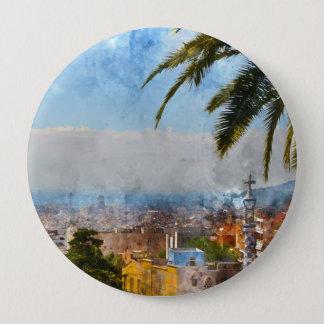 Barcelona Spain Skyline 4 Inch Round Button