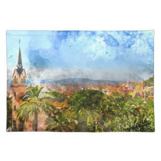 Barcelona Spain Skyline Placemat