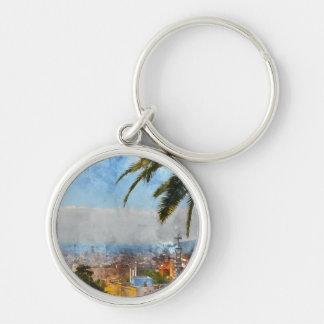 Barcelona Spain Skyline Silver-Colored Round Keychain