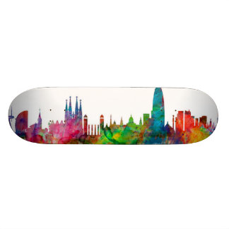 Barcelona Spain Skyline Skate Board Deck