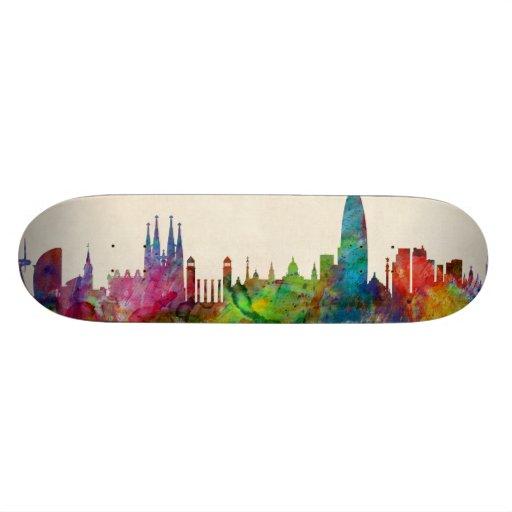 Barcelona Spain Skyline Custom Skate Board