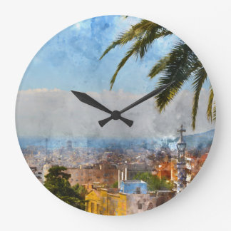 Barcelona Spain Skyline Wall Clock