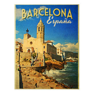 Barcelona Spain Vintage Travel Postcard