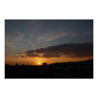 Barcelona Sunset Poster