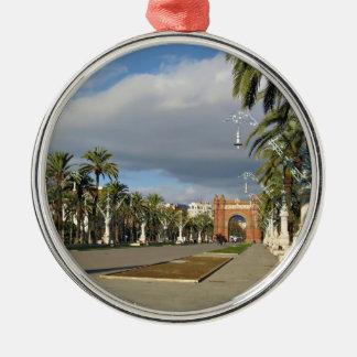 Barcelona The Arc de Triomf Silver-Colored Round Ornament