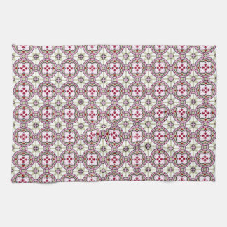 Barcelona tile flower with pink ribbons kitchen towel
