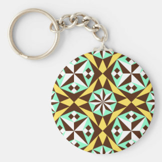 Barcelona tile pattern in yellow, brown and blue keychain