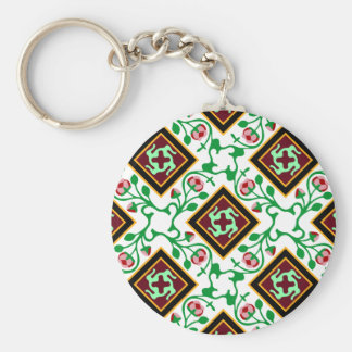 Barcelona tile red floral pattern basic round button keychain
