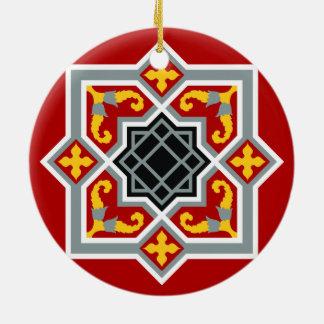 Barcelona tile red octagonal pattern round ceramic ornament