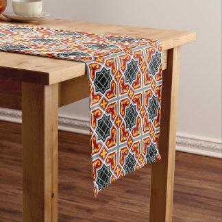 Barcelona tile red octagonal pattern short table runner