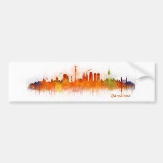 Barcelona watercolor Skyline v03 Bumper Sticker