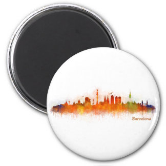 Barcelona watercolor Skyline v03 Magnet