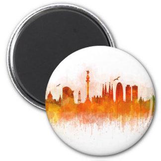 Barcelona watercolor Skyline v03 Magnet
