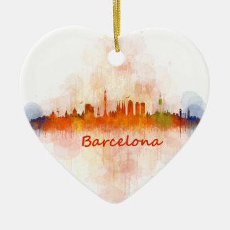 Barcelona watercolor Skyline v04 Ceramic Heart Ornament
