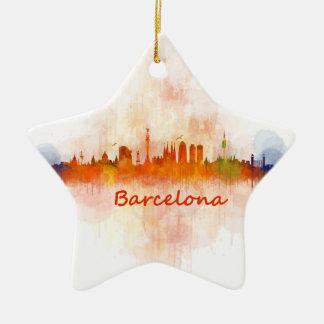 Barcelona watercolor Skyline v04 Ceramic Star Ornament