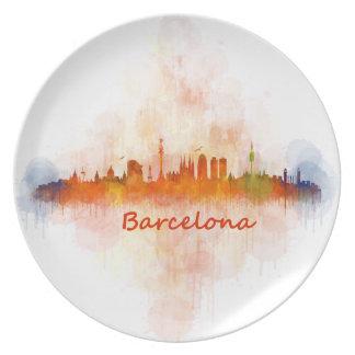 Barcelona watercolor Skyline v04 Party Plates