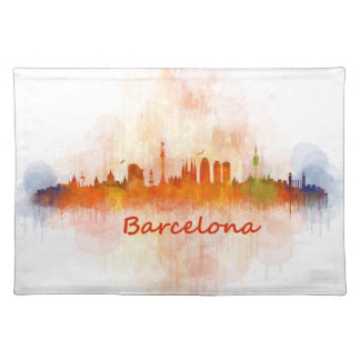 Barcelona watercolor Skyline v04 Placemat