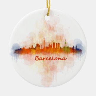 Barcelona watercolor Skyline v04 Round Ceramic Ornament