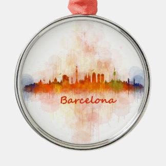 Barcelona watercolor Skyline v04 Silver-Colored Round Ornament