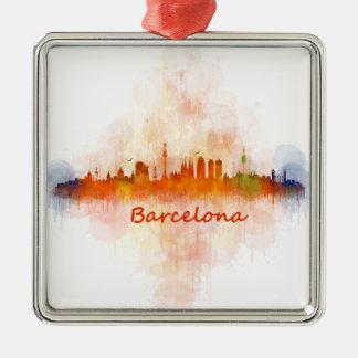 Barcelona watercolor Skyline v04 Silver-Colored Square Ornament