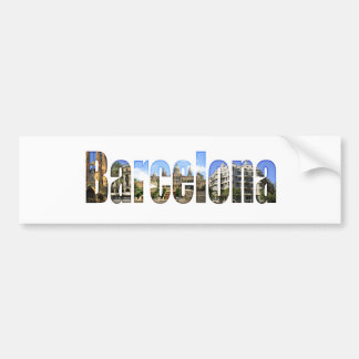 Barcelona with tourist attractions in letters bumper sticker
