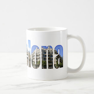 Barcelona with tourist attractions in letters coffee mug