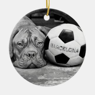 Barcelona's soccer fanatic dog. Barcelona, Spain Round Ceramic Ornament