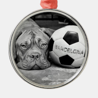 Barcelona's soccer fanatic dog. Barcelona, Spain Silver-Colored Round Ornament