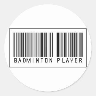 Barcode Badminton Player Classic Round Sticker