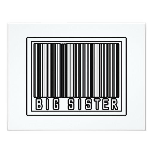 "Barcode Big Sister 4.25"" X 5.5"" Invitation Card"